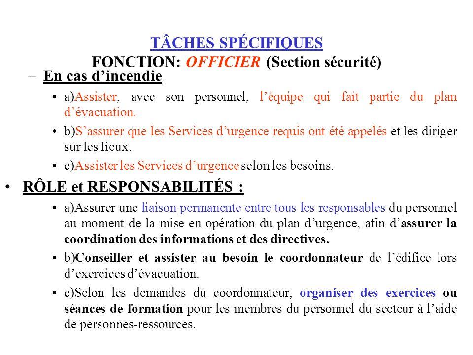 TÂCHES SPÉCIFIQUES FONCTION: OFFICIER (Section sécurité) –En cas dincendie a)Assister, avec son personnel, léquipe qui fait partie du plan dévacuation