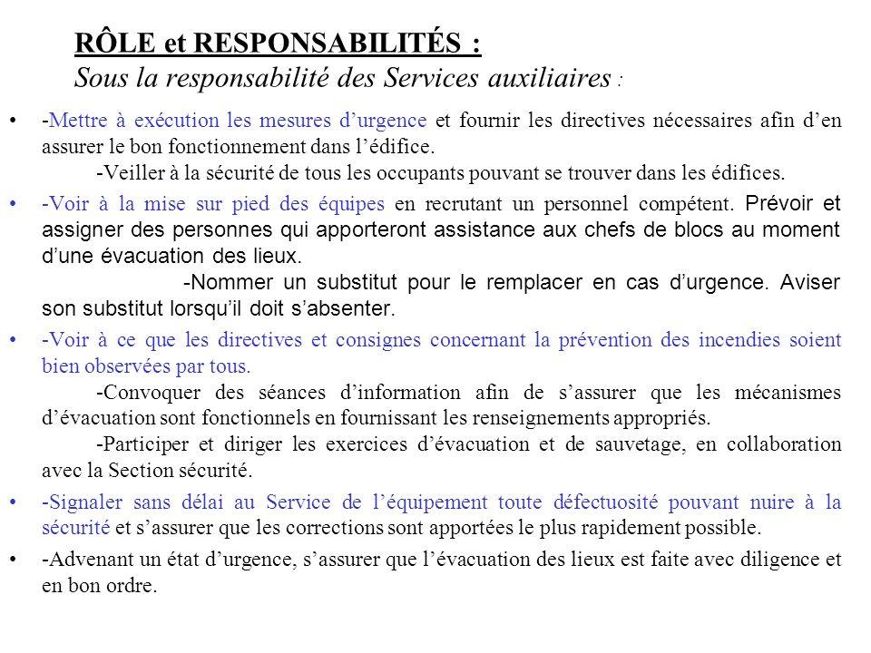 RÔLE et RESPONSABILITÉS : Sous la responsabilité des Services auxiliaires : -Mettre à exécution les mesures durgence et fournir les directives nécessa