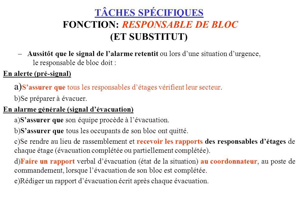 TÂCHES SPÉCIFIQUES FONCTION: RESPONSABLE DE BLOC (ET SUBSTITUT) –Aussitôt que le signal de lalarme retentit ou lors dune situation durgence, le respon