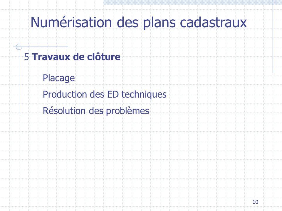 10 Numérisation des plans cadastraux 5 Travaux de clôture Production des ED techniques Placage Résolution des problèmes