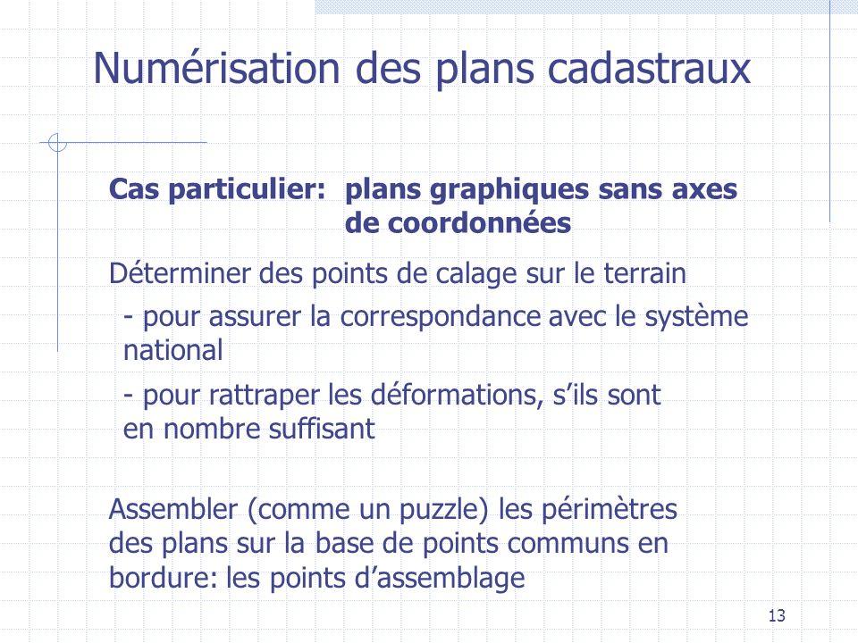 13 Numérisation des plans cadastraux Déterminer des points de calage sur le terrain - pour assurer la correspondance avec le système national - pour r