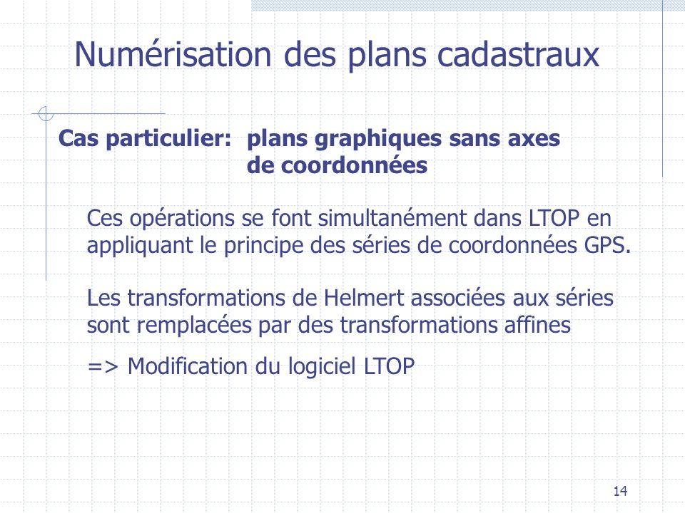 14 Numérisation des plans cadastraux Ces opérations se font simultanément dans LTOP en appliquant le principe des séries de coordonnées GPS. Les trans