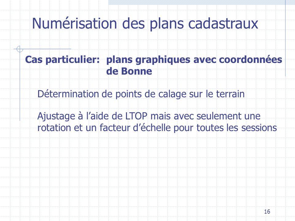 16 Numérisation des plans cadastraux Détermination de points de calage sur le terrain Cas particulier:plans graphiques avec coordonnées de Bonne Ajust