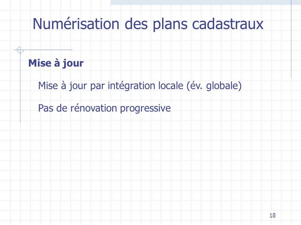 18 Numérisation des plans cadastraux Mise à jour Mise à jour par intégration locale (év. globale) Pas de rénovation progressive