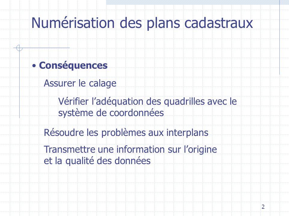 2 Numérisation des plans cadastraux Conséquences Assurer le calage Résoudre les problèmes aux interplans Transmettre une information sur lorigine et l