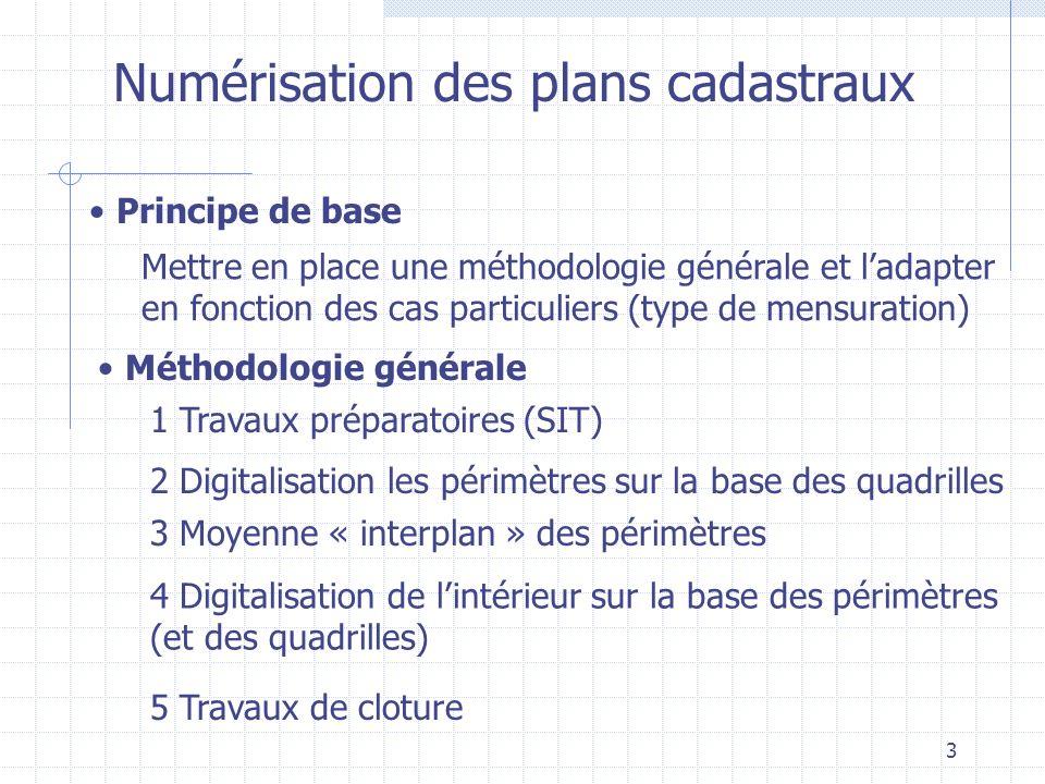 3 Numérisation des plans cadastraux Principe de base Mettre en place une méthodologie générale et ladapter en fonction des cas particuliers (type de m