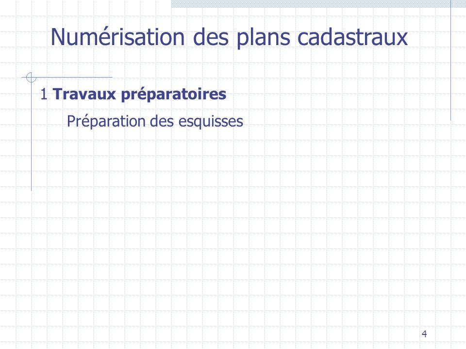 4 Numérisation des plans cadastraux 1 Travaux préparatoires Préparation des esquisses