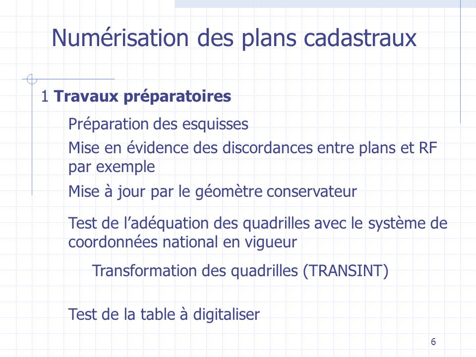 6 Numérisation des plans cadastraux 1 Travaux préparatoires Préparation des esquisses Mise en évidence des discordances entre plans et RF par exemple