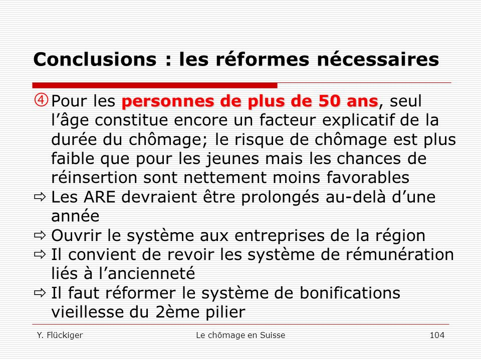Y. FlückigerLe chômage en Suisse103 Conclusions : les réformes nécessaires combattre la stigmatisation Il convient de combattre la stigmatisation dont