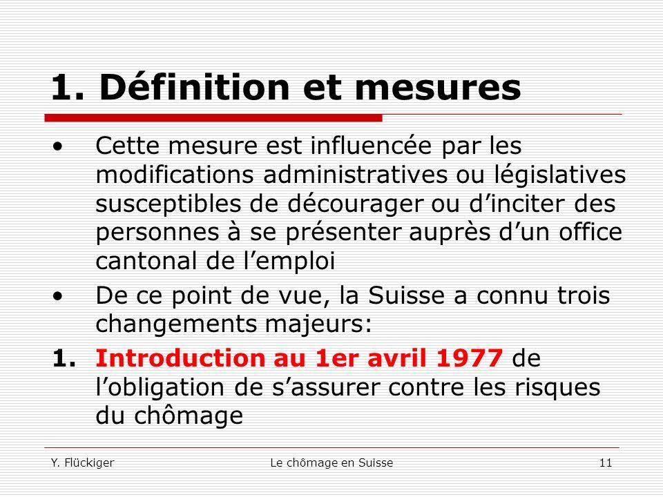 Y. FlückigerLe chômage en Suisse10 1. Définition et mesures Les personnes qui ne peuvent pas ou qui ne peuvent plus obtenir des indemnités sont libres