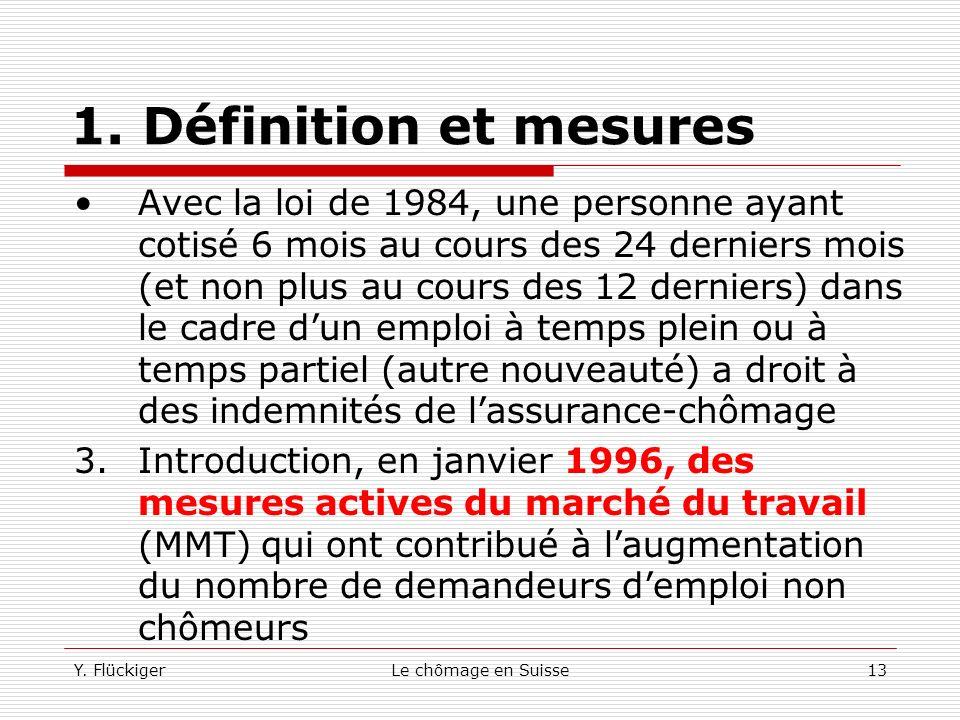 Y. FlückigerLe chômage en Suisse12 1. Définition et mesures Jusqualors, seuls les cantons de Genève, depuis 1953, Zoug et Zurich avaient introduits ce