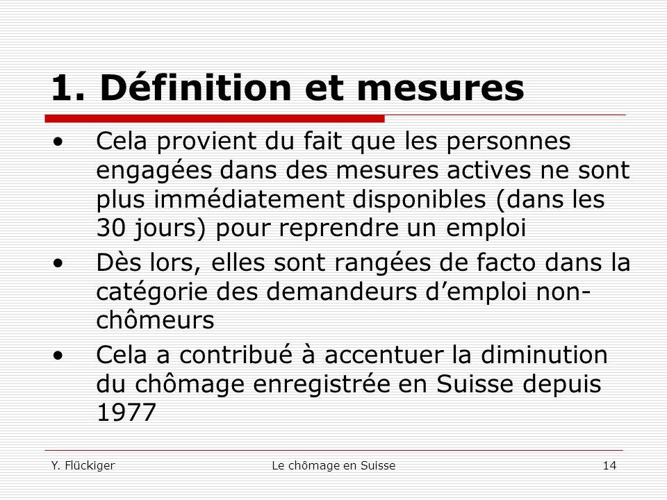 Y. FlückigerLe chômage en Suisse13 1. Définition et mesures Avec la loi de 1984, une personne ayant cotisé 6 mois au cours des 24 derniers mois (et no