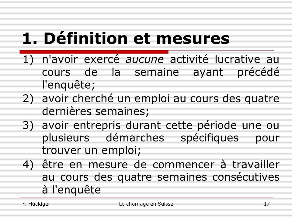 Y. FlückigerLe chômage en Suisse16 1. Définition et mesures Depuis 1991, notre pays dispose d'une nouvelle source d'information provenant d'une enquêt
