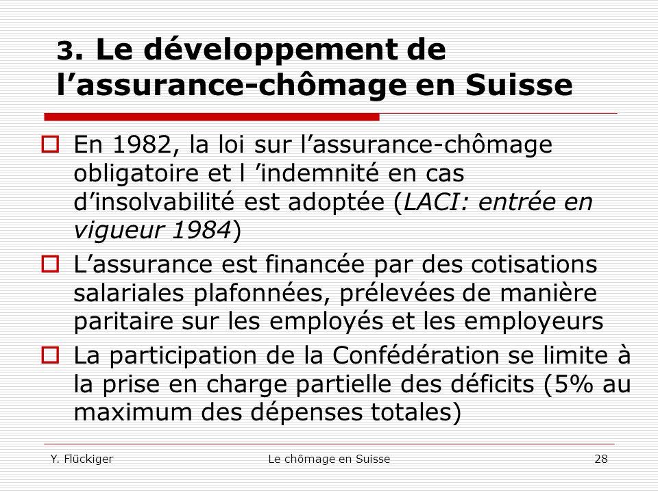 Y. FlückigerLe chômage en Suisse27 3. Le développement de lassurance-chômage en Suisse En 1974, lassurance-chômage nétait pas obligatoire en Suisse. M