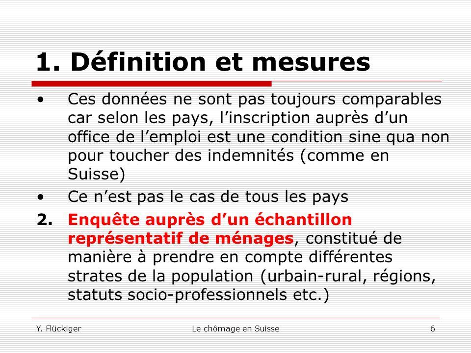 Y. FlückigerLe chômage en Suisse5 1. Définition et mesures Il existe deux approches pour mesurer le nombre de chômeurs: 1.Données fournies par les off