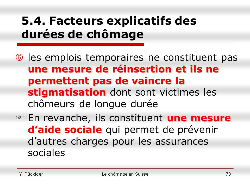 Y. FlückigerLe chômage en Suisse69 5.4. Facteurs explicatifs des durées de chômage Genève plus élevée ladministration publique »(4,8%) Bâle-Ville (1,6