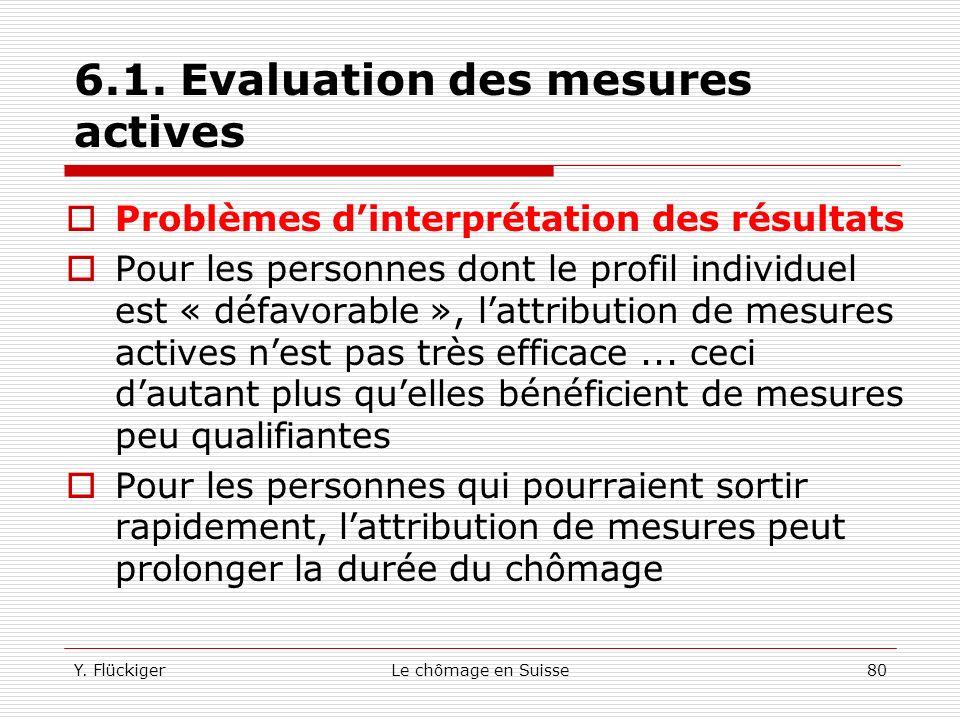 Y. FlückigerLe chômage en Suisse79 6.1. Evaluation des mesures actives Les études effectuées se sont concentrées uniquement sur la probabilité de sort
