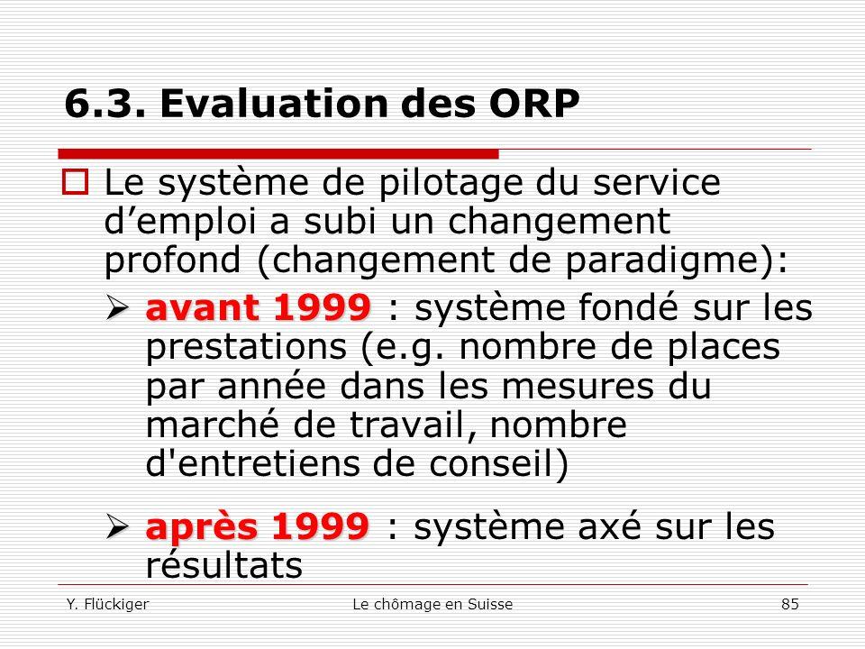 Y. FlückigerLe chômage en Suisse84 6.3. Evaluation des ORP Les offices régionaux de placement sont chargés de la mise en œuvre des mesures actives Ils
