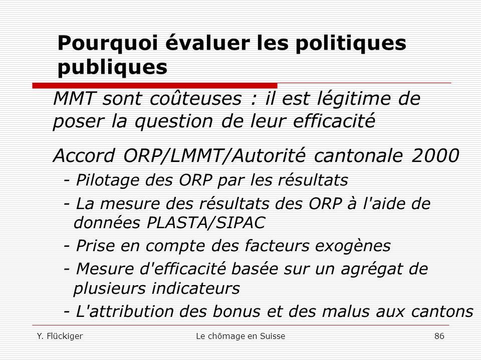 Y. FlückigerLe chômage en Suisse85 6.3. Evaluation des ORP Le système de pilotage du service demploi a subi un changement profond (changement de parad