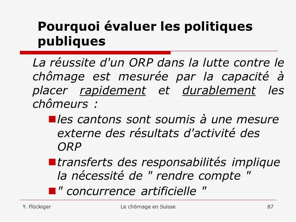 Y. FlückigerLe chômage en Suisse86 Pourquoi évaluer les politiques publiques MMT sont coûteuses : il est légitime de poser la question de leur efficac