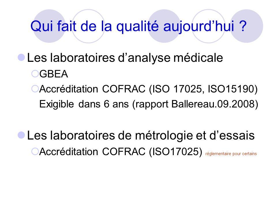 Les laboratoires danalyse médicale GBEA Accréditation COFRAC (ISO 17025, ISO15190) Exigible dans 6 ans (rapport Ballereau.09.2008) Les laboratoires de métrologie et dessais Accréditation COFRAC (ISO17025) réglementaire pour certains Qui fait de la qualité aujourdhui ?