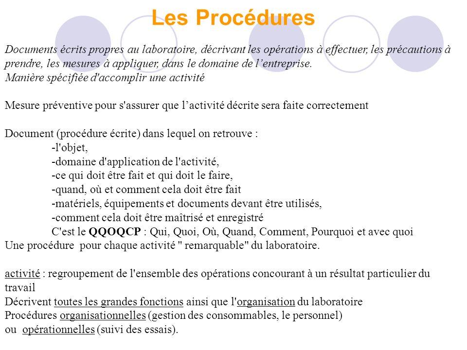 Les Procédures Documents écrits propres au laboratoire, décrivant les opérations à effectuer, les précautions à prendre, les mesures à appliquer, dans le domaine de lentreprise.