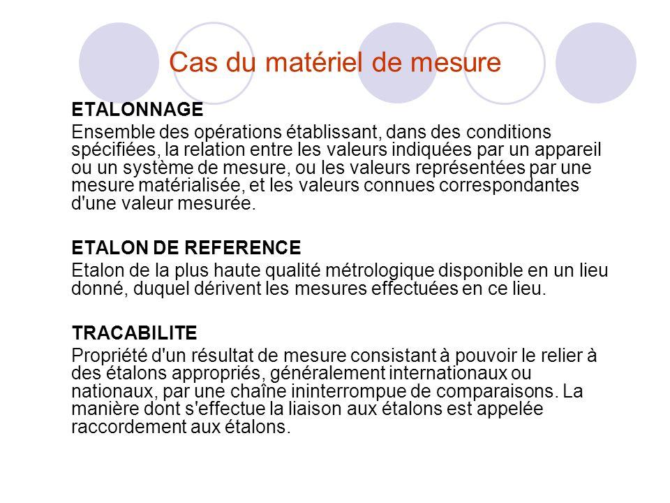 Cas du matériel de mesure ETALONNAGE Ensemble des opérations établissant, dans des conditions spécifiées, la relation entre les valeurs indiquées par un appareil ou un système de mesure, ou les valeurs représentées par une mesure matérialisée, et les valeurs connues correspondantes d une valeur mesurée.