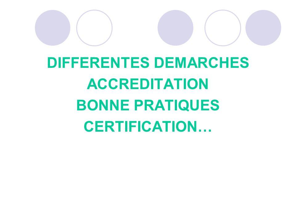 DIFFERENTES DEMARCHES ACCREDITATION BONNE PRATIQUES CERTIFICATION…