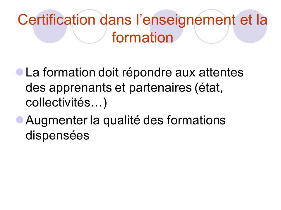 Certification dans lenseignement et la formation La formation doit répondre aux attentes des apprenants et partenaires (état, collectivités…) Augmenter la qualité des formations dispensées