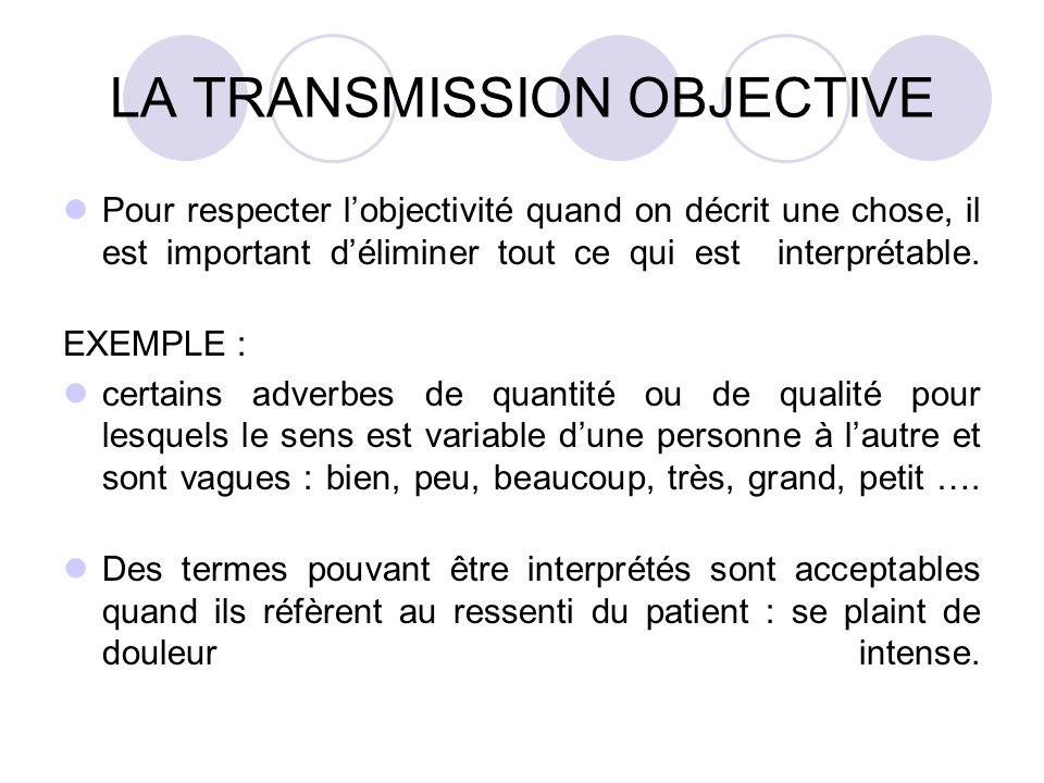LA TRANSMISSION OBJECTIVE Pour respecter lobjectivité quand on décrit une chose, il est important déliminer tout ce qui est interprétable. EXEMPLE : c