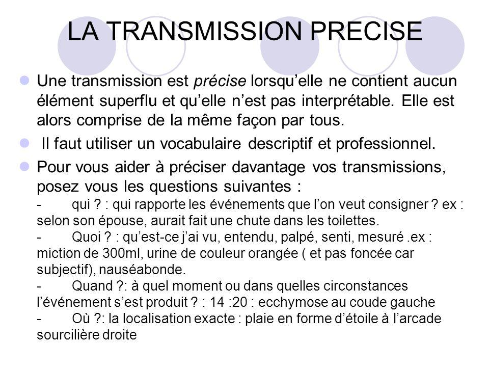 LA TRANSMISSION PRECISE Une transmission est précise lorsquelle ne contient aucun élément superflu et quelle nest pas interprétable. Elle est alors co
