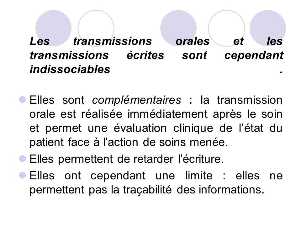Les transmissions orales et les transmissions écrites sont cependant indissociables. Elles sont complémentaires : la transmission orale est réalisée i
