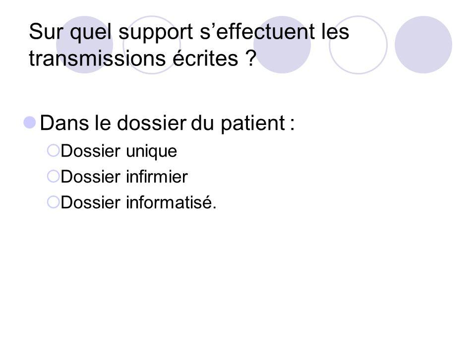 Sur quel support seffectuent les transmissions écrites ? Dans le dossier du patient : Dossier unique Dossier infirmier Dossier informatisé.