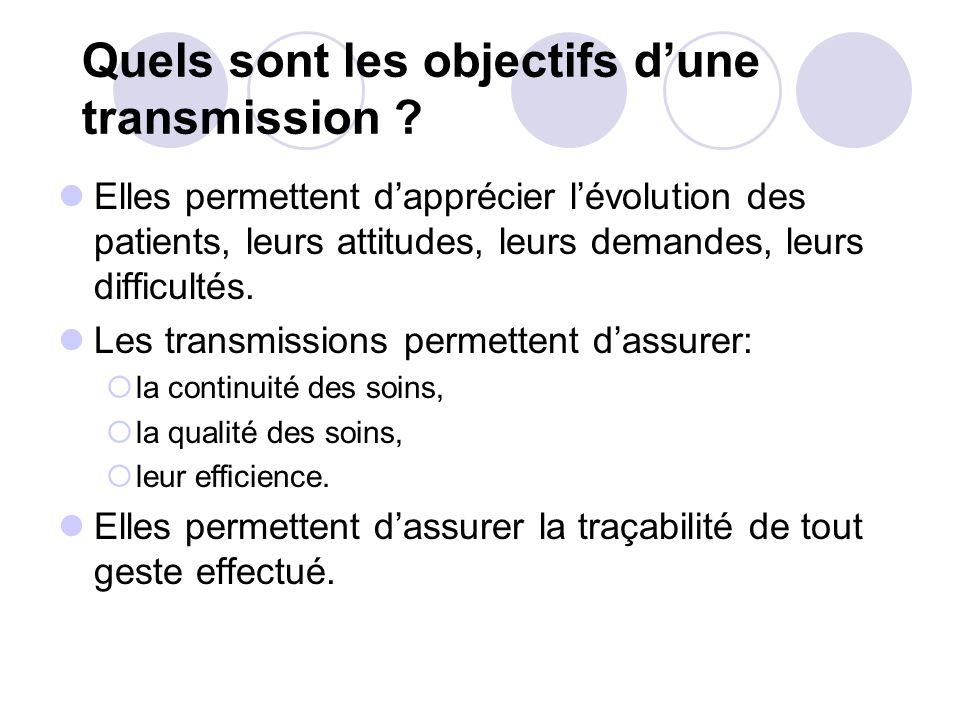 Quels sont les objectifs dune transmission .
