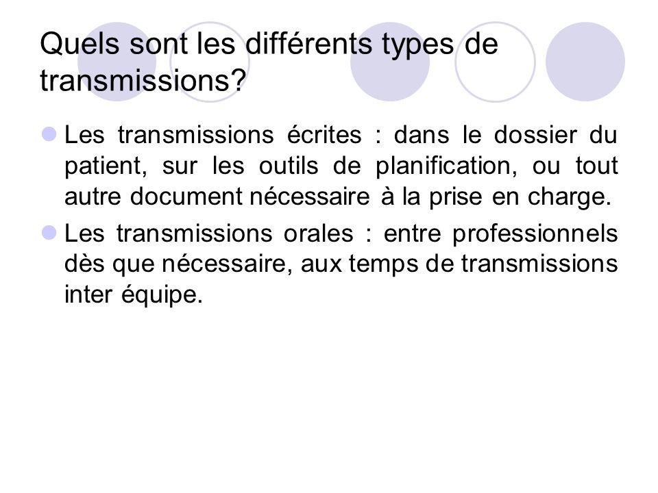 Quels sont les différents types de transmissions? Les transmissions écrites : dans le dossier du patient, sur les outils de planification, ou tout aut