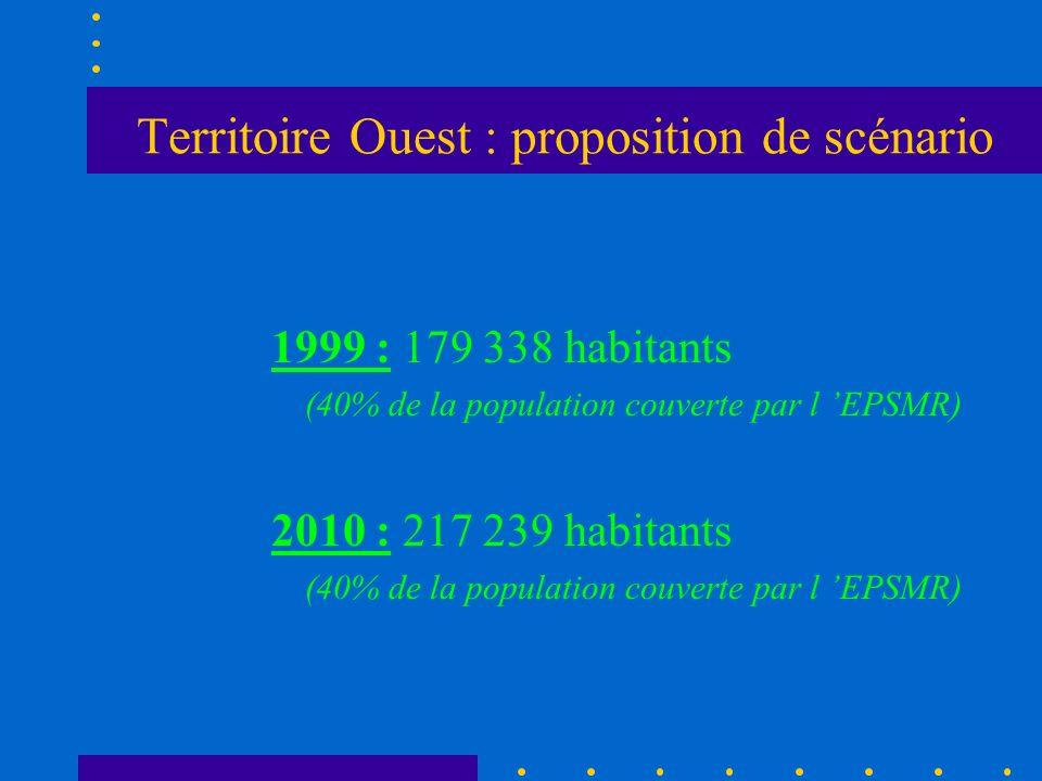 Territoire Ouest : proposition de scénario 1999 : 179 338 habitants (40% de la population couverte par l EPSMR) 2010 : 217 239 habitants (40% de la po