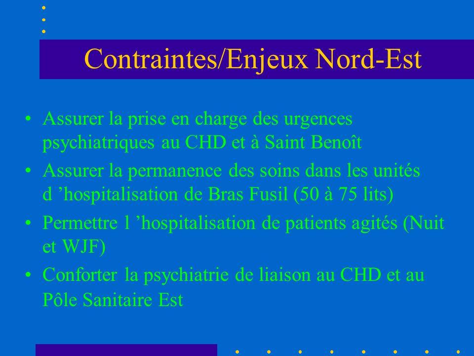Contraintes/Enjeux Nord-Est Assurer la prise en charge des urgences psychiatriques au CHD et à Saint Benoît Assurer la permanence des soins dans les u
