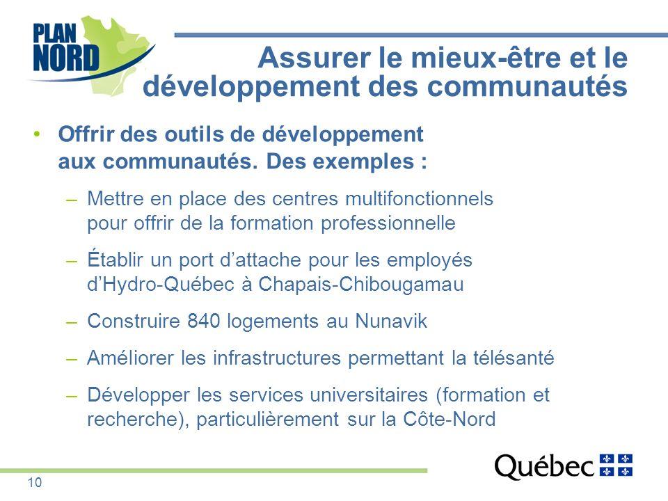 Offrir des outils de développement aux communautés. Des exemples : –Mettre en place des centres multifonctionnels pour offrir de la formation professi