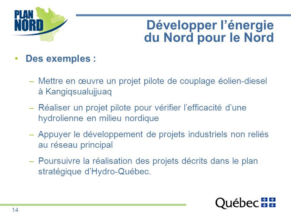 Développer lénergie du Nord pour le Nord Des exemples : –Mettre en œuvre un projet pilote de couplage éolien-diesel à Kangiqsualujjuaq –Réaliser un pr