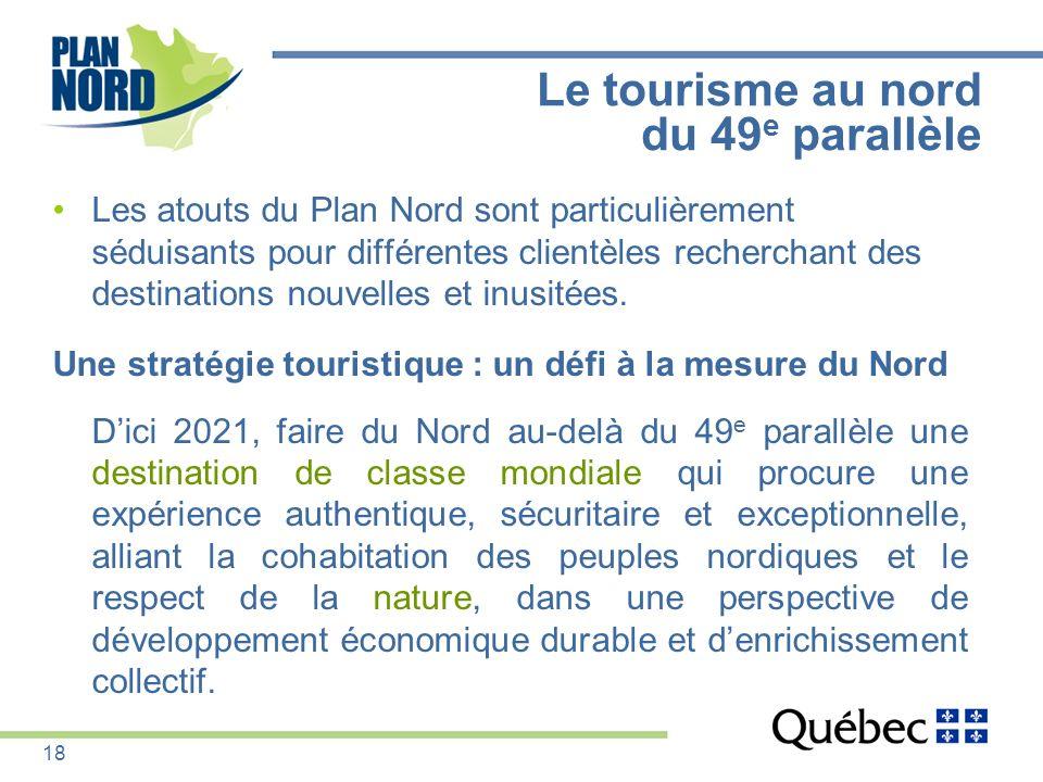 Le tourisme au nord du 49 e parallèle Les atouts du Plan Nord sont particulièrement séduisants pour différentes clientèles recherchant des destination
