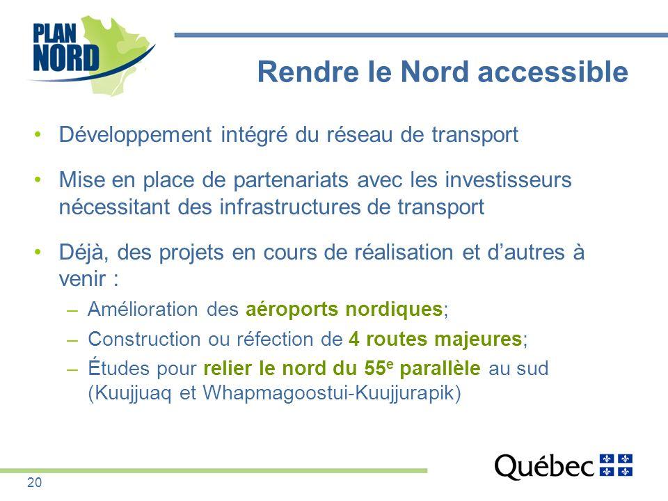 Rendre le Nord accessible Développement intégré du réseau de transport Mise en place de partenariats avec les investisseurs nécessitant des infrastruc