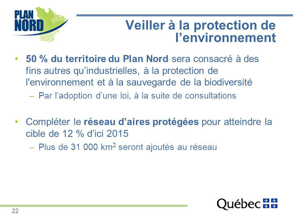 50 % du territoire du Plan Nord sera consacré à des fins autres quindustrielles, à la protection de l'environnement et à la sauvegarde de la biodivers