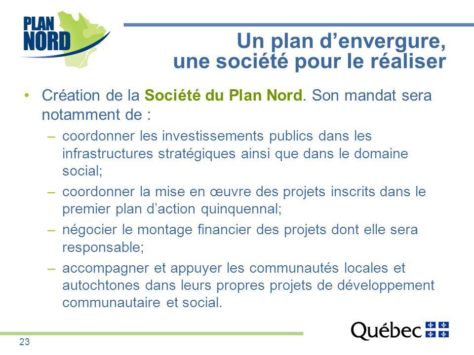 Un plan denvergure, une société pour le réaliser Création de la Société du Plan Nord. Son mandat sera notamment de : –coordonner les investissements p