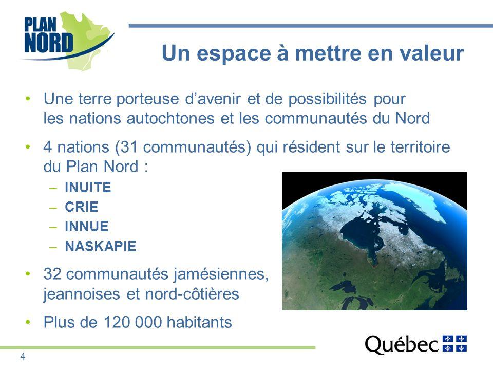 Un espace à mettre en valeur Une terre porteuse davenir et de possibilités pour les nations autochtones et les communautés du Nord 4 nations (31 commu