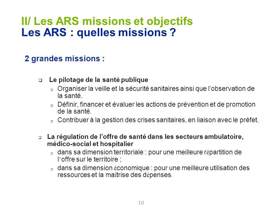 10 II/ Les ARS missions et objectifs Les ARS : quelles missions ? 2 grandes missions : Le pilotage de la santé publique Organiser la veille et la sécu
