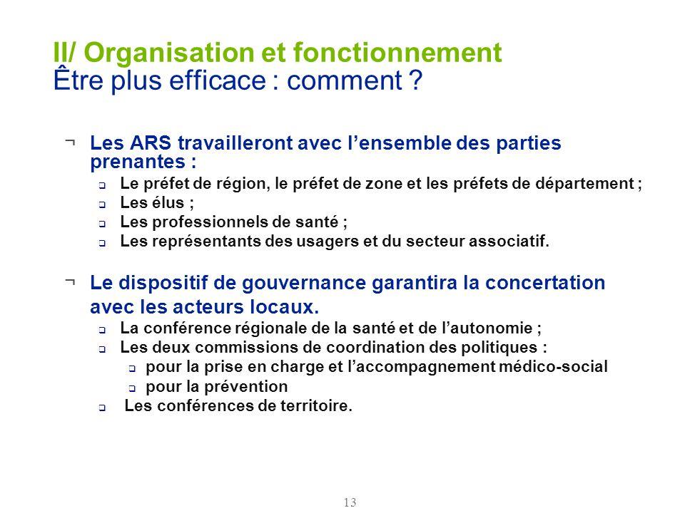 13 II/ Organisation et fonctionnement Être plus efficace : comment ? ¬Les ARS travailleront avec lensemble des parties prenantes : Le préfet de région