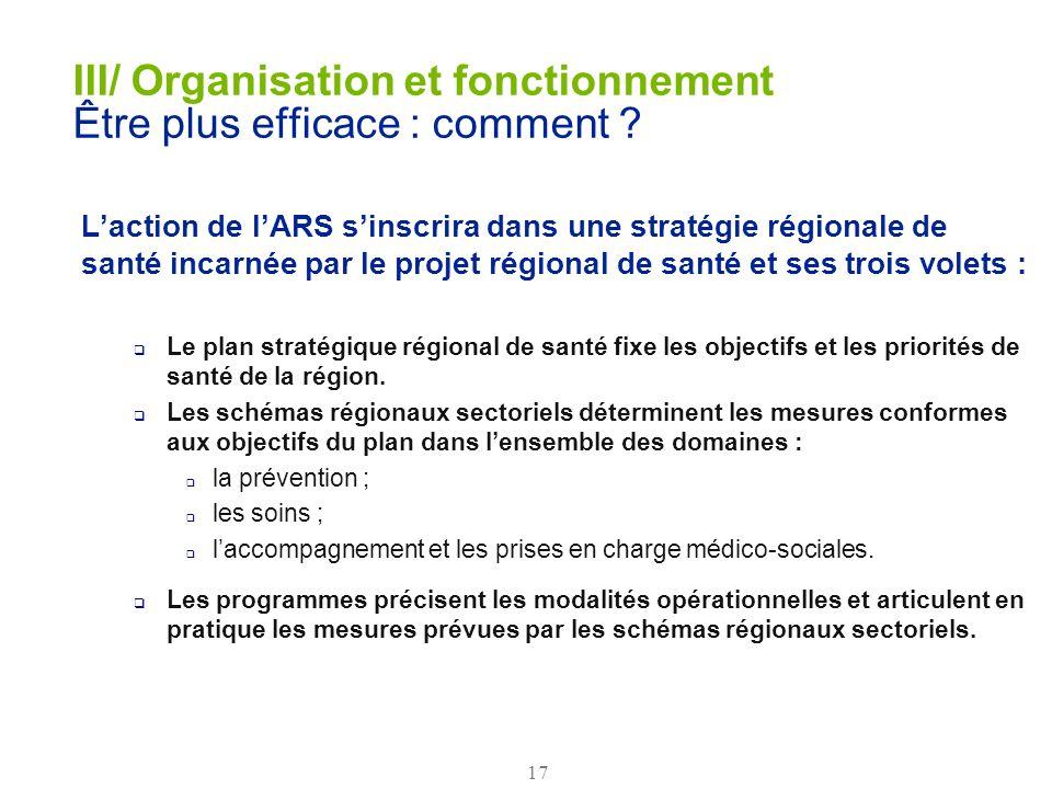 17 Laction de lARS sinscrira dans une stratégie régionale de santé incarnée par le projet régional de santé et ses trois volets : Le plan stratégique
