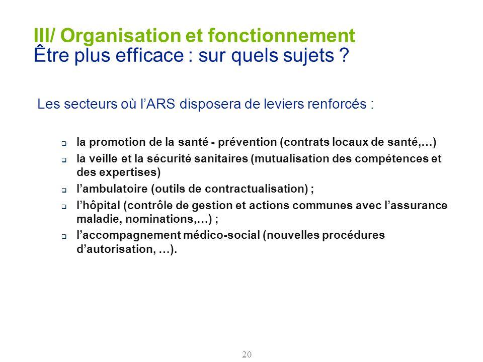 20 III/ Organisation et fonctionnement Être plus efficace : sur quels sujets ? Les secteurs où lARS disposera de leviers renforcés : la promotion de l
