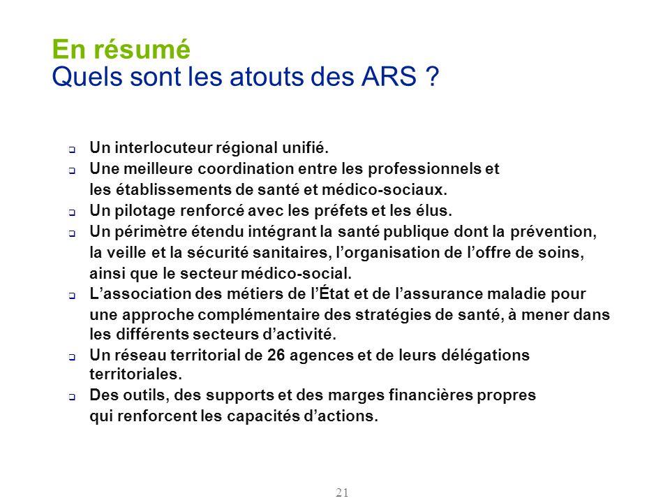 21 En résumé Quels sont les atouts des ARS ? Un interlocuteur régional unifié. Une meilleure coordination entre les professionnels et les établissemen
