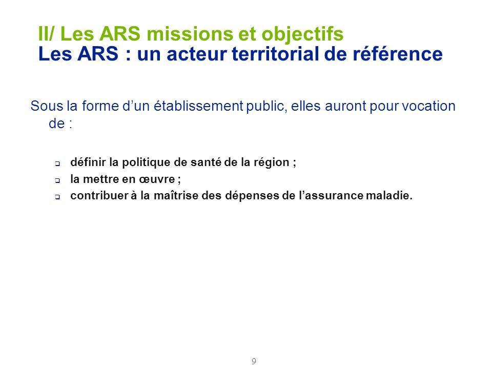 9 II/ Les ARS missions et objectifs Les ARS : un acteur territorial de référence Sous la forme dun établissement public, elles auront pour vocation de
